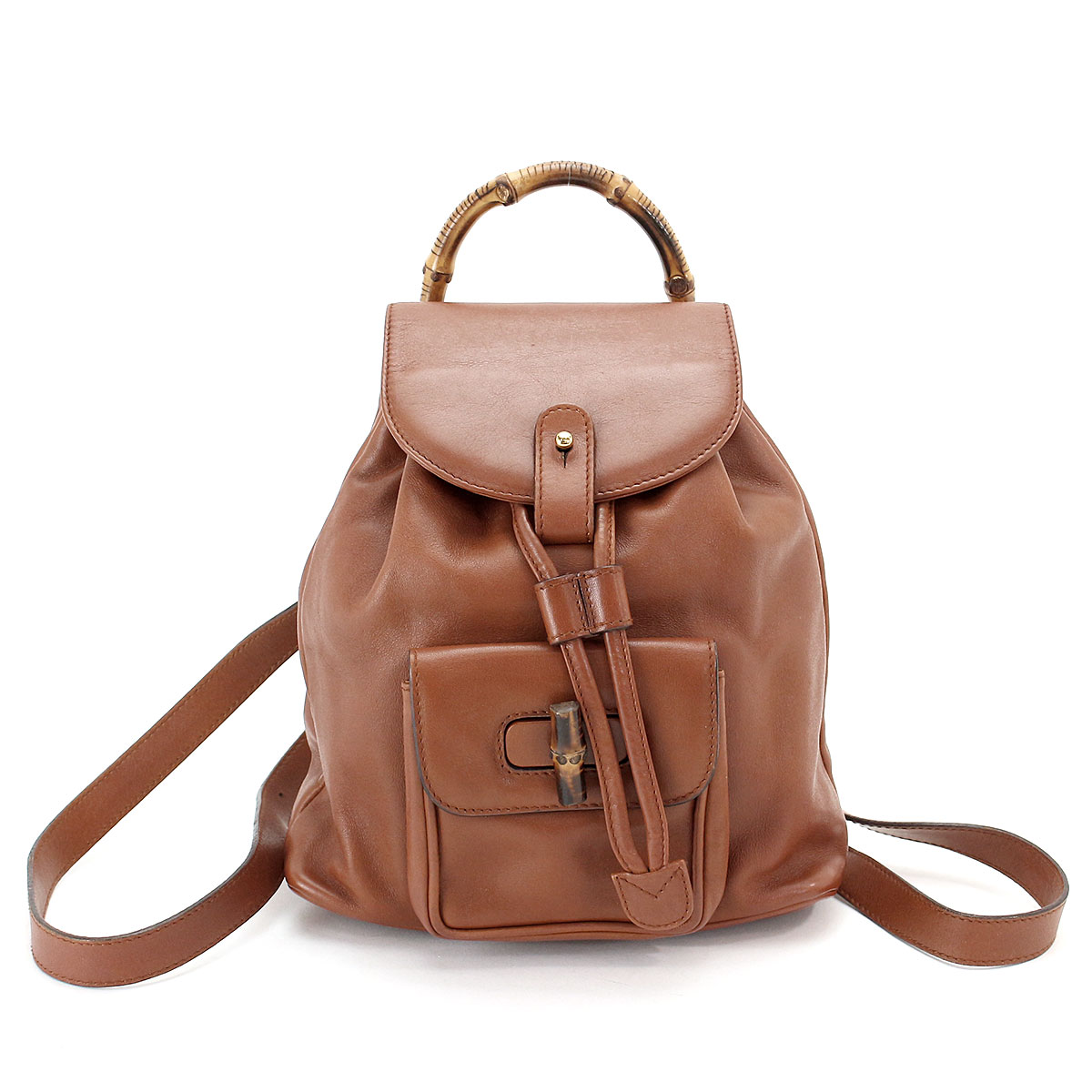 b30c41be7b9 Auth GUCCI Bamboo Mini Back Pack Leather Brown Purse 003 1705 0030 ...