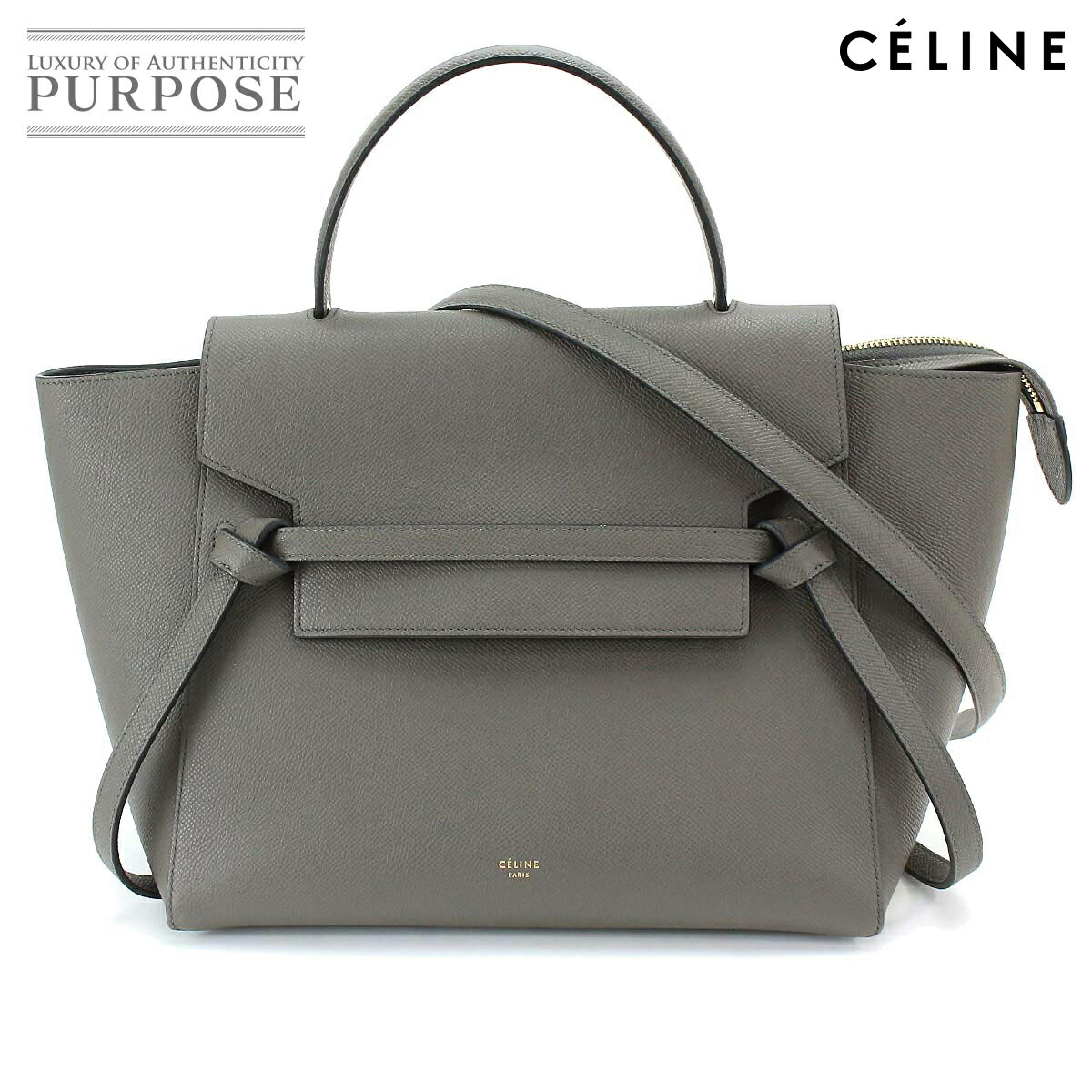 8ccd354b4f  unused display  Celine CELINE belt bag mini-2way hand shoulder bag leather  gray 189103  used  brand