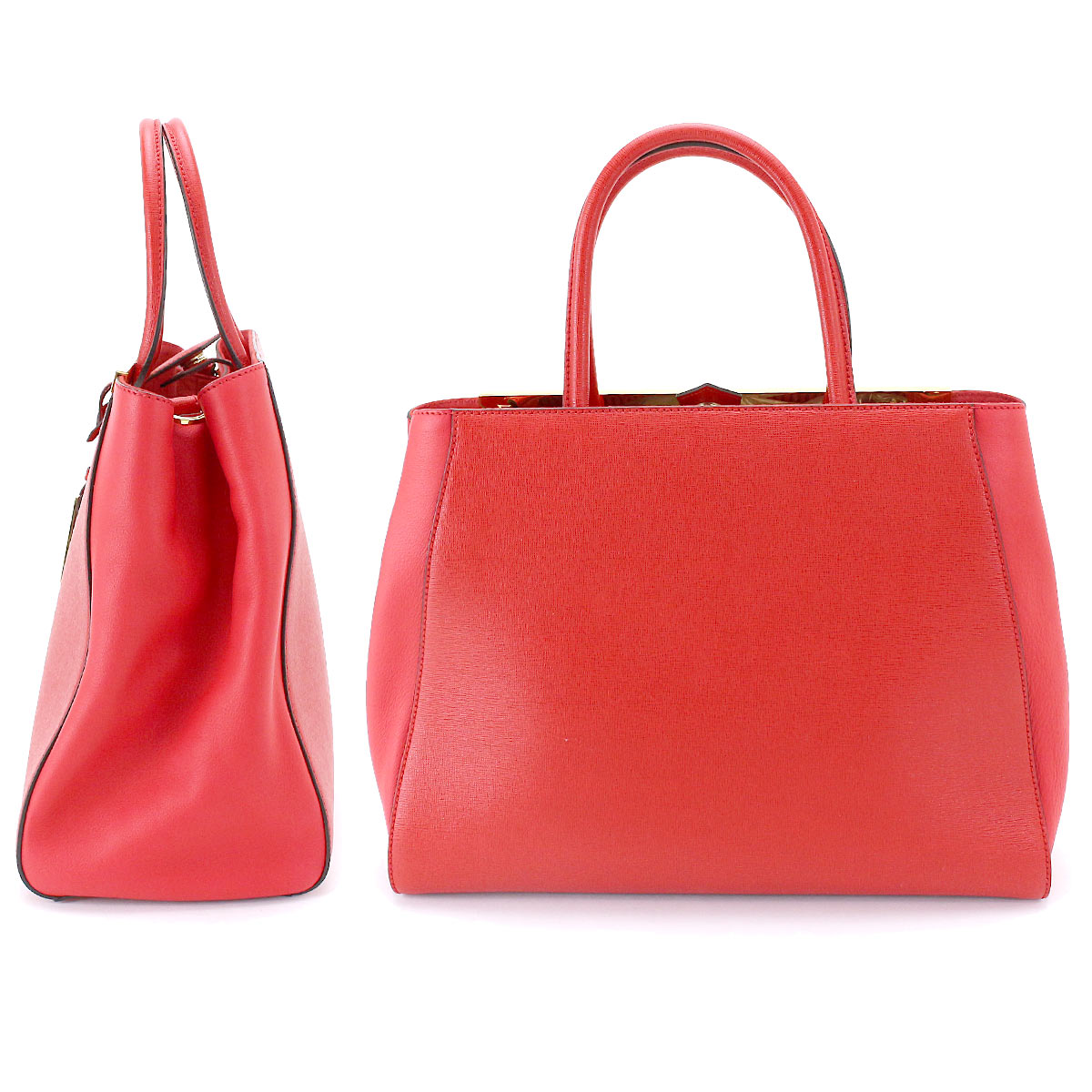 7f698ff8e475 Details about Auth FENDI 2Jours 2way Hand Shoulder Bag Leather Red 8BH250  Purse 90068521
