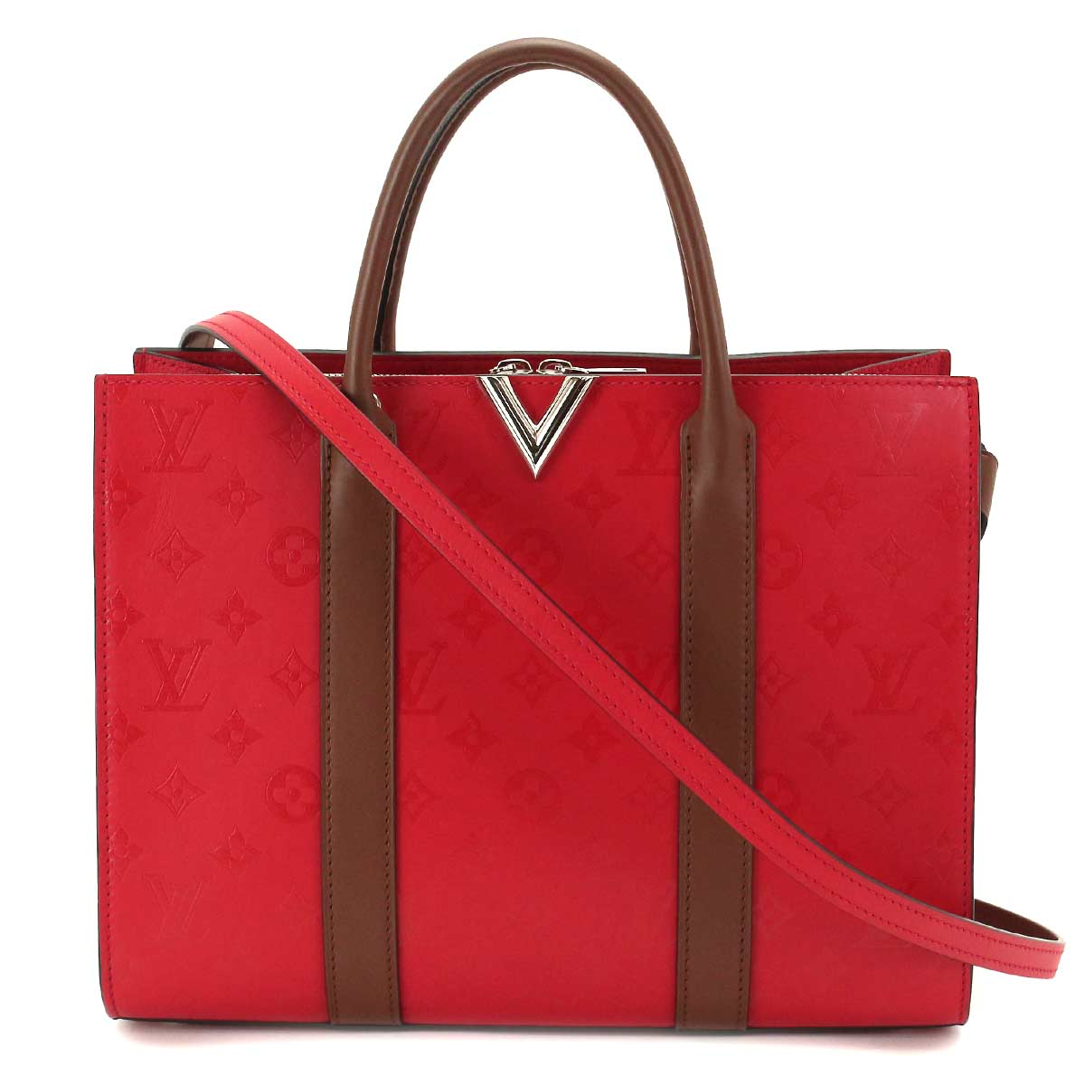 dd4c416af096 LOUIS VUITTON Very Tote 2WAY Shoulder Bag Ruby Leather M42889 ...