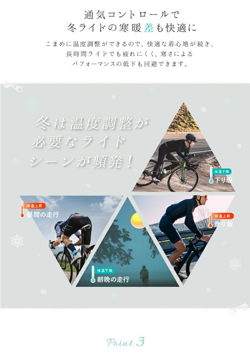 パフォーマンスの低下を回避、サイクルジャージ、冬用、サイクルジャケット、長袖、防風、裏起毛、自転車用、ロードバイク、クロスバイク、BIKOT(ビコット)