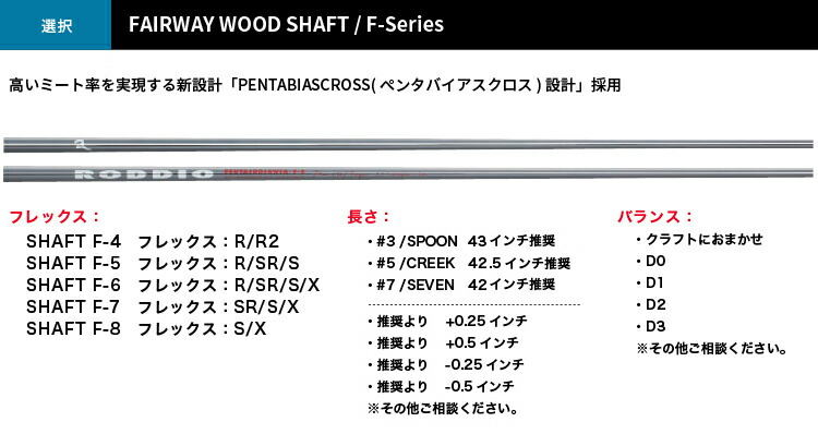 ロッディオ RODDIO FAIRWAY×RODDIO Series-F シャフト #3 SPOON/#5 CREEK #7 SEVEN F-4〜8