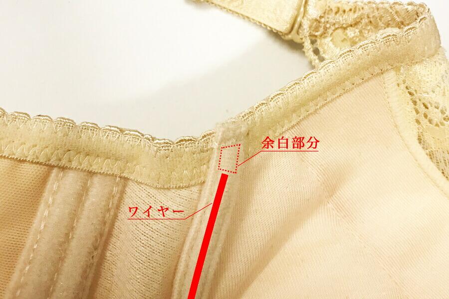ブラジャーのワイヤーが収まっている部分にはある程度の余白部分