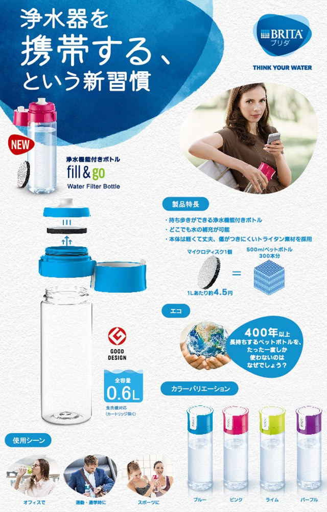 ブリタ 浄水機能付き携帯ボトル フィル&ゴー(0.6L) ブルー BJ-GBL