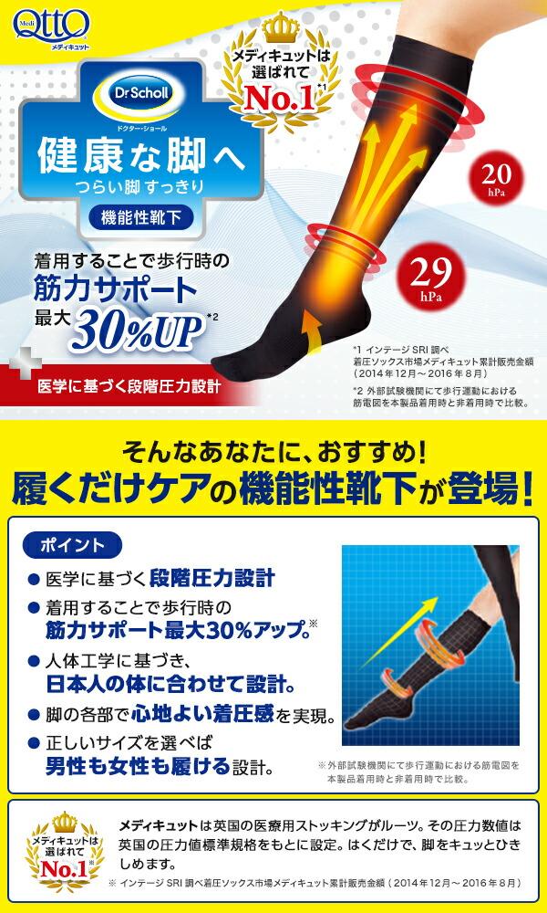 メディキュット 機能性靴下 ひざ下 男女兼用 ブラック M