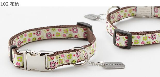 ラロック メタルビードッグカラー 小型犬用首輪 【102 花柄】の写真です。