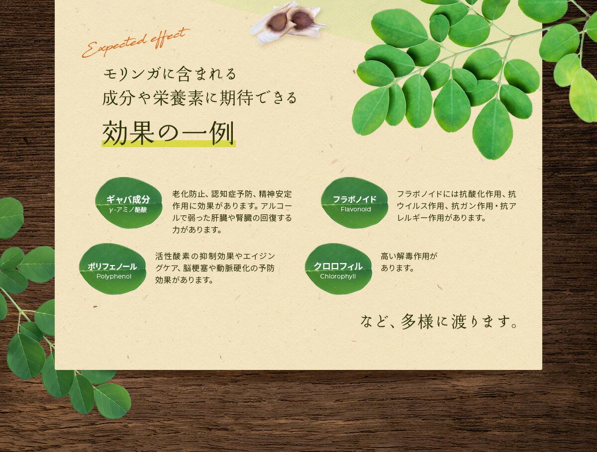 モリンガに含まれる成分や栄養素に期待できる効果の一例
