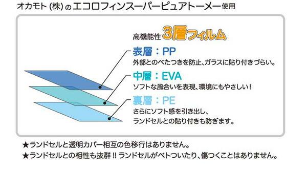 オカモト(株)のエコロフィンスーパーピュアトーメー使用高機能3層フィルム 表層:PP 外部とのベタつきを防止、ガラスに貼り付きづらい。 中層:EVA ソフトな風合いを表現、環境にもやさしい! 裏層:さらにソフト感を引き出し、ランドセルとの貼り付きも防ぎます。ランドセルと透明カバー相互の色移行がありません。 ランドセルとの相性が抜群!ランドセルがベタついたり傷ついたりすることはありません。