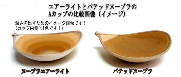 正規品パテッドヌーブラはヌーブラエアーライトの軽さはそのままに、しっかりボリュームアップします!こちらはヌーブラエアーライトとのカップを比較しています♪
