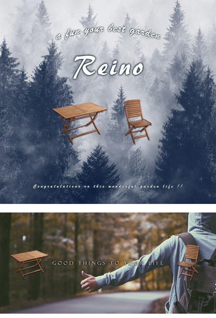 折りたたみガーデンテーブル・チェア(5点セット)人気のアカシア材、パラソル使用可能 | reino-レイノ-