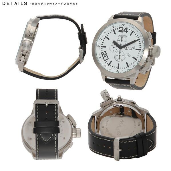 MAX マックス 腕時計 MAX033 52mm Big Face シルバー ブラック クロノグラフ ウォッチ 国内正規商品
