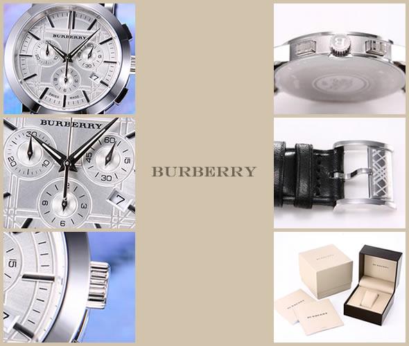バーバリー 腕時計 ヘリテージ クロノグラフ シルバー ブラックレザー メンズ BU1361