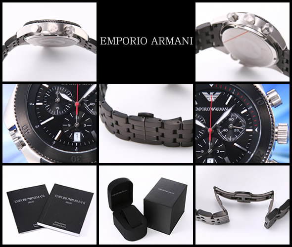 【EMPORIO ARMANI】エンポリオアルマーニ スポーツ クロノグラフ ブラック AR0547