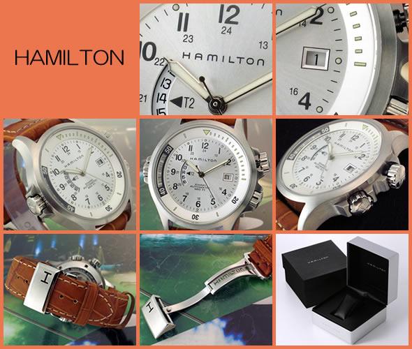ハミルトン Khaki Navy GMT(カーキ・ネイビーGMT) メンズ オートマチック レザーストラップウオッチ H77625453