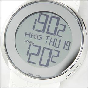 【GUCCI】グッチ 腕時計 I-Gucci(アイ-グッチ)コレクション YA114シリーズ デジタルワールドタイム ボーイズ・サイズ GGラバーストラップ ホワイト YA114403