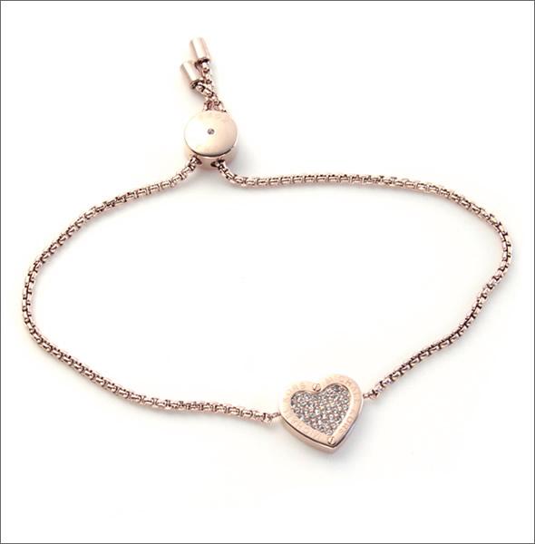 9a8a62ad231f マイケルコース MKJ4142791 Pave Rose Gold-Tone Heart Charm Bracelet パヴェ ハートチャーム  ブレスレット