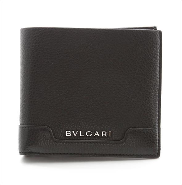ブルガリ URBAN アーバン 小銭入れ付 二つ折り財布 カーフ ブラック 33403 GRAIN/BLK