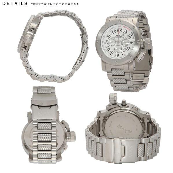 MAX マックス 腕時計 MAX483 47mm Face ブラック、シルバー ブラック、シルバー クロノグラフ ウォッチ 国内正規商品