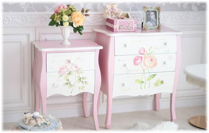 薔薇のハンドペイント家具シリーズ
