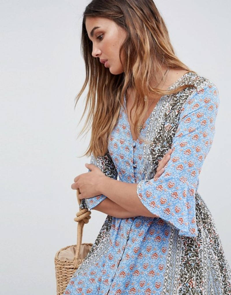 c3e0708bd9b5a グラマラス レディース レディース ワンピース トップス Glamorous サイズ交換無料 Maxi Smock 送料無料 Dress With  Fluted Sleeves In Patchwork Print Blue:ReVida ...