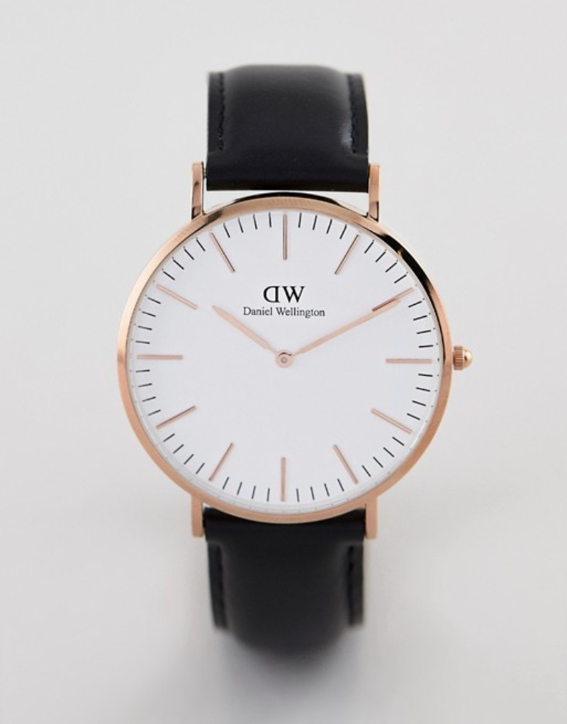 553eb4f2ad ダニエルウェリントン メンズ 腕時計 アクセサリー Daniel Wellington Classic Sheffield Leather Watch  in Rose Gold 40mm Black 送料無料 サイズ交換無料 ダニエル ...