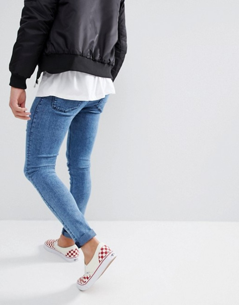 d1b1c2e544fe98 エイソス メンズ デニムパンツ ボトムス ASOS Extreme Super Skinny Jeans In Blue Acid Wash Blue  acid