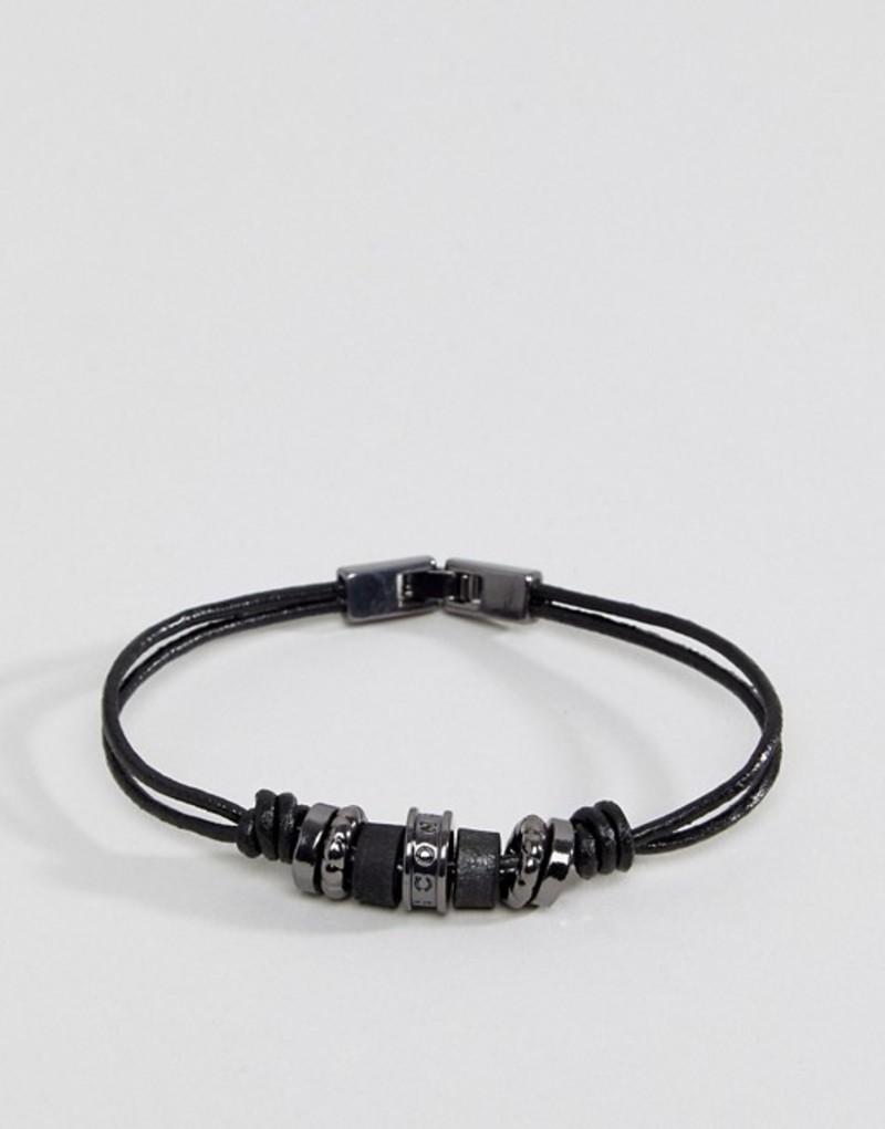 6fd588549e66 ブランド. Icon Brand (アイコンブランド) □商品名. Icon Brand Black Leather Bracelet With Gunmetal  Beads