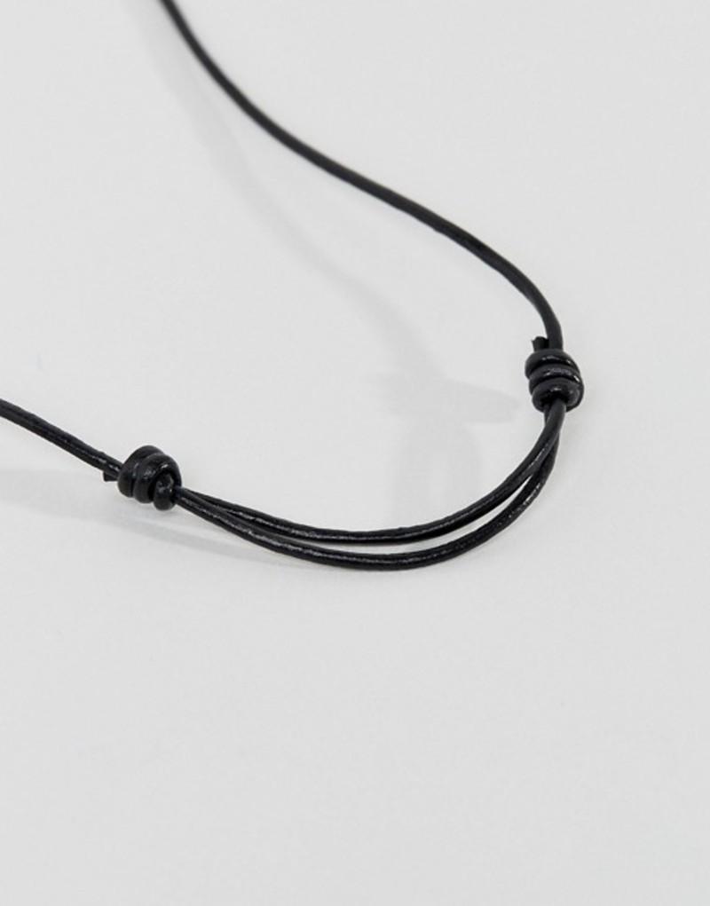 afebbb47d623 アイコンブランド メンズ ネックレス・チョーカー アクセサリー Icon Brand Black Leather Necklace With  Silver Cross Pendant Black 再入荷即納