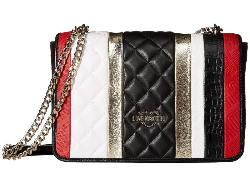 6830a61257bd ラブ モスキーノ レディース ハンドバッグ バッグ Fashion Stripes Quilted Shoulder Bag  White/Black/Gold/Red 送料無料 サイズ交換無料 ラブ モスキーノ レディース ...
