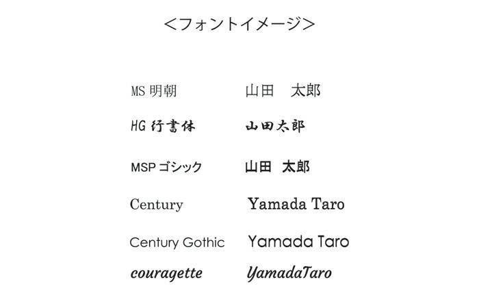 MS明朝 / HG行書体 / MSPゴシック /Century / Century Gothic / couragette