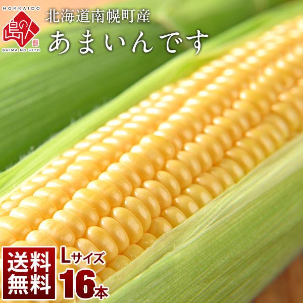 北海道産 とうもろこし あまいんです Lサイズ(380gアップ) 16本(6kg以上) とにかく甘い!【送料無料】【産地直送】