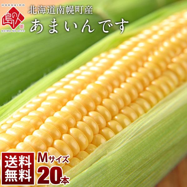 北海道産 とうもろこし あまいんです Mサイズ(360g前後) 20本(7.2kg前後) とにかく甘い!【送料無料】【産地直送】