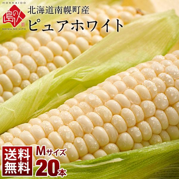 北海道 南幌町産 とうもろこし ピュアホワイト Mサイズ(360g前後)20本(7.2kg前後) 生で食べても甘い!【送料無料】【産地直送】