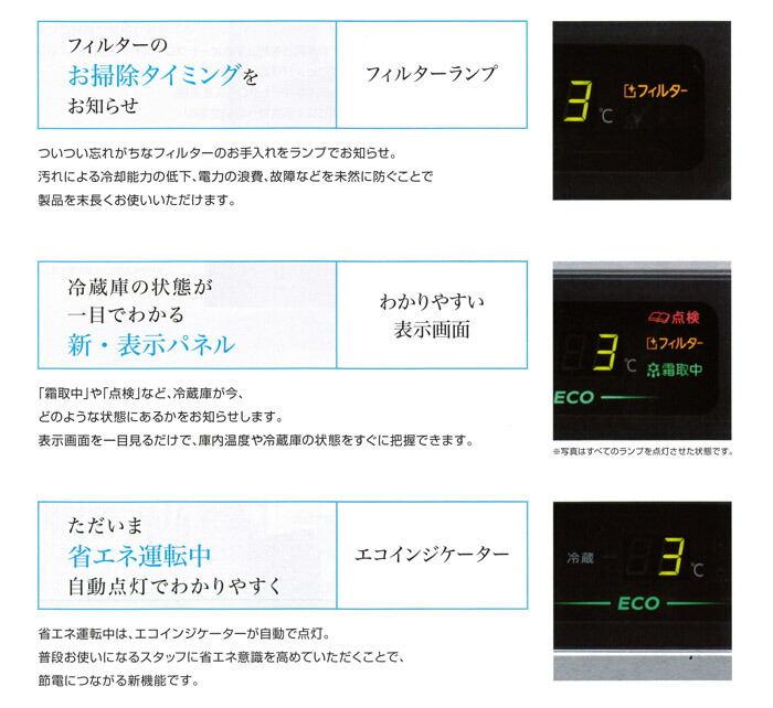 ホシザキ業務用冷凍冷蔵庫 パネル表示