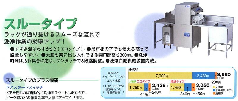 マルゼン 食器洗浄機 スルータイプ の特長