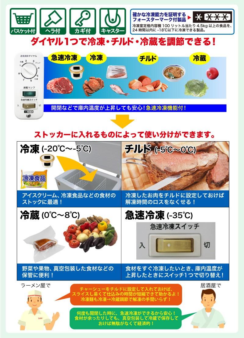 三温度帯冷凍ストッカー 詳細1