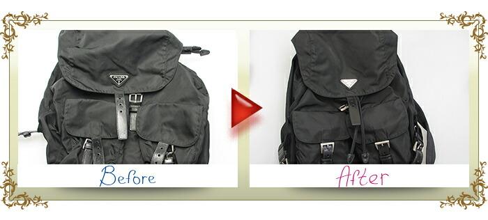 バッグ クリーニング【高級ブランド品コース】 Mサイズ(〜40cm) プラダリュックビフォーアフター