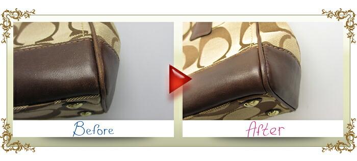 バッグ クリーニング【高級ブランド品コース】 Mサイズ(〜40cm) コーチバッグビフォーアフター