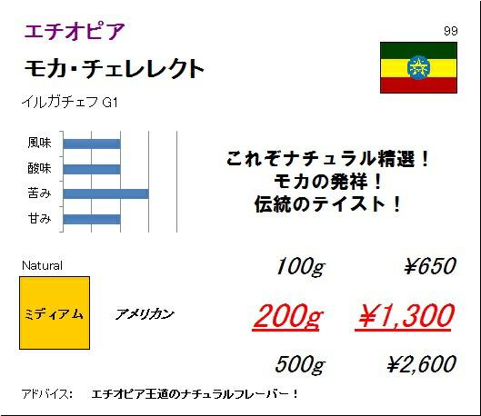 エチオピア モカ チェレレクト G1