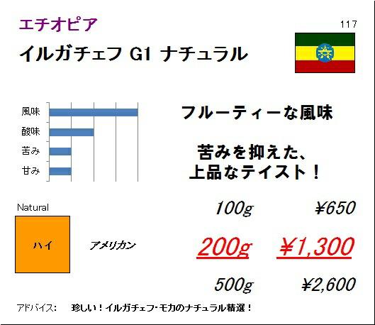 エチオピア モカ イルガチェフ G1 ナチュラル