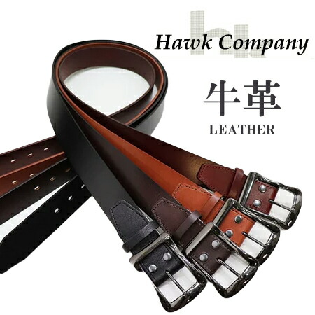 Hawk Company BLACK NICKEL BUCKLE LEATHER BELT 337 / ホークカンパニー ブラック ニッケル バックル レザー ベルト 337 ユニセックス