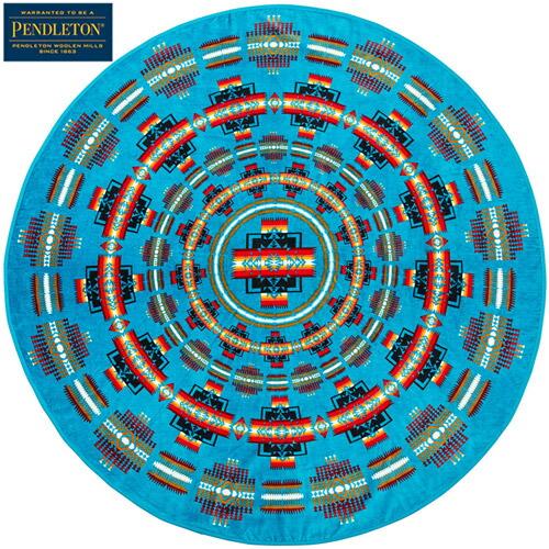 『Printed Round Towel』(Chief Jospeh Turquoise)