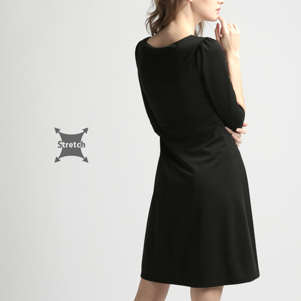 神戸 ファッション フォーマル ワンピース ブラック ストレッチ 春 夏 秋 冬
