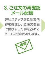 3. ご注文の再確認メール配信 弊社スタッフがご注文内容を確認し、ご注文を受け付けました事を改めてメールでお知らせします。
