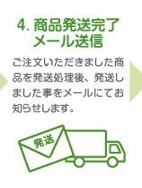 4. 商品発送完了メール送信 ご注文いただきました商品を発送処理後、発送しました事をメールにてお知らせします。