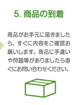 5. 商品の到着 商品がお手元に届きましたら、すぐに内容をご確認お願いします。商品に手違い や問題等がありましたら直ぐにお問い合わせください。