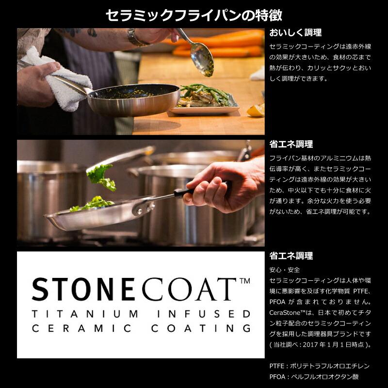 CeraStone セラストーン CeraComm セラコム チタン セラミックコーティングフライパン 26cm IH対応