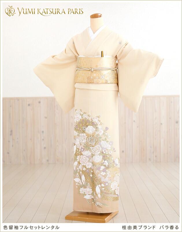 桂由美色留袖レンタル「バラ香る」