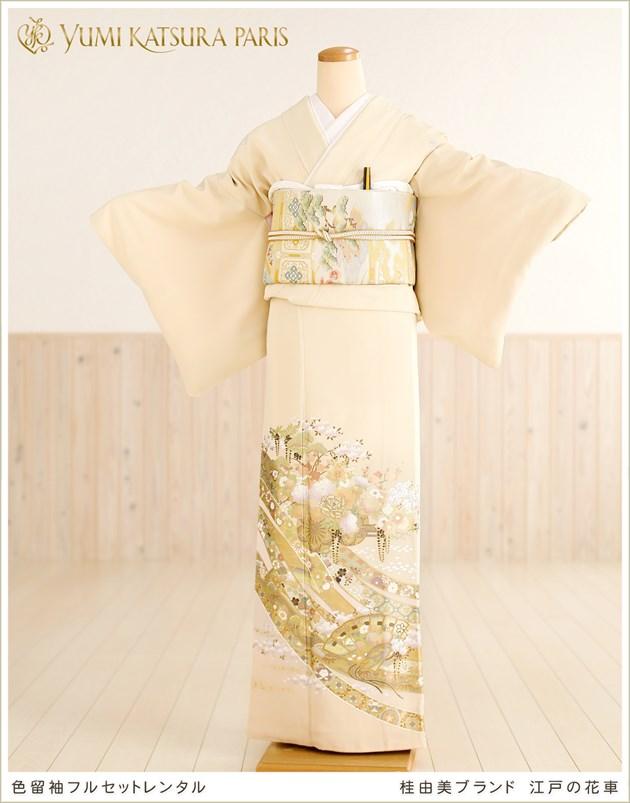 桂由美色留袖レンタル「江戸の花車」