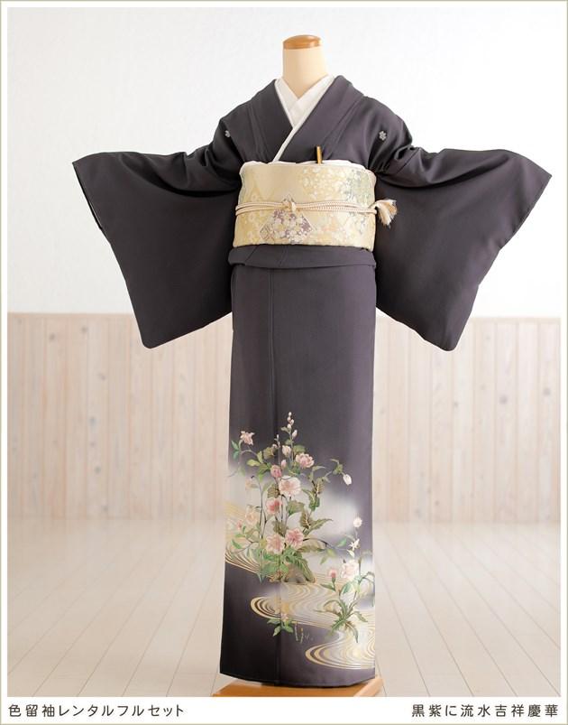 京友禅色留袖レンタル 黒紫に流水吉祥慶華